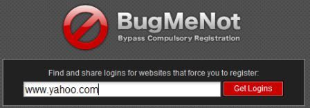 bugmenot search box