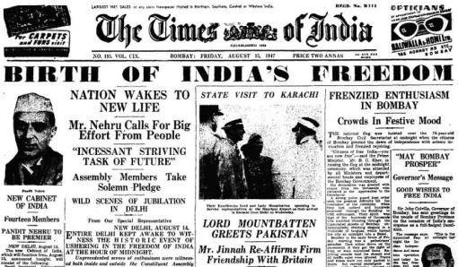 Times of India News paper on 15 August, 1947